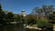 Stock Video Footage of Beautiful Osaka Castle Japanese Architecture Asian Establishing Shot Old Palace