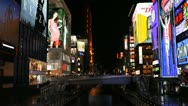 Stock Video Footage of Rush Hour Time Lapse Osaka Colorful Shopping Street Neon Signs Night Light Japan