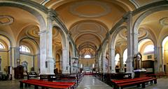 Interior and ceiling of the St.Eufemia church - stock photo