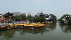 Timelapse Nanjing Famous Confucius Temple Iconic Chinese Street People Visit Day Stock Footage