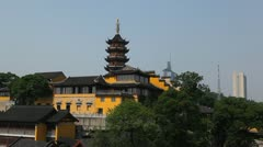 Stock Video Footage of Panoramic Shot Nanjing Urban Scene Pan Right Cityscape Buddhist Pagoda Temple