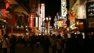 Stock Video Footage of Iconic Sightseeing Japanese Busy City Center Shopping Street Night People Crowd