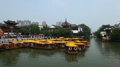 Boat Tour Confucius Temple Touristic Popular Trip Chinese Sightseeing Nanjing Stock Footage