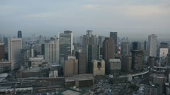 Panoramic Aerial View Osaka Skyline Establishing Shot Office Towers Business Day Stock Footage