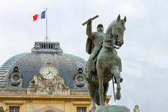 equestrian statue of marechal joffre  at the champ de mars in paris, france. - stock photo