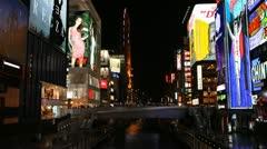 Establishing Shot Busy Shopping Street Popular Market Area Osaka Night Lights Stock Footage