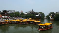 Nanjing Establishing Shot Landmark China Tour Boat Confucius Temple People Ride Stock Footage