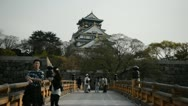 Stock Video Footage of Tourists Visiting People Walking Osaka Castle Japanese Park Asian Landmark Sight