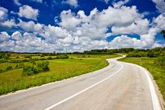 The serpentine and landscape of Istrian inland Stock Photos