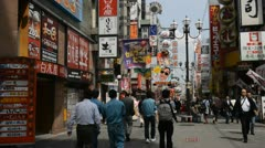 Dotonbori Busy Shopping Street Osaka City Center People Passing Shoppers Walking Stock Footage