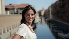 Portrait of young happy bride in Venice, crane shot HD Stock Footage