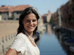 Portrait of young happy bride in Venice, crane shot NTSC Stock Footage