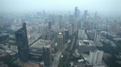Time Lapse Panoramic Aerial View Nanjing Skyline Rush Hour Car Traffic Commuters - stock footage