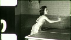 Teen TEENAGE Girl Plays PING PONG 1940s (Vintage Film Home Movie) 5445 - stock footage