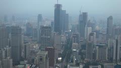 Panoramic Shot Aerial View Nanjing Cityscape Skyscraper Cars Passing Traffic Jam Stock Footage