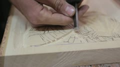 Xylography (woodcutting) fine detail _3 Stock Footage