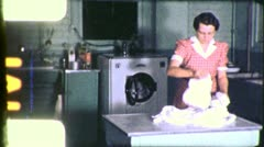 WOMAN Sorts LAUNDRY Housework Washing 1940s Vintage Film Retro Home Movie 5453 - stock footage