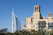 View of burj al arab with mina a'salam hotel (2) Stock Photos