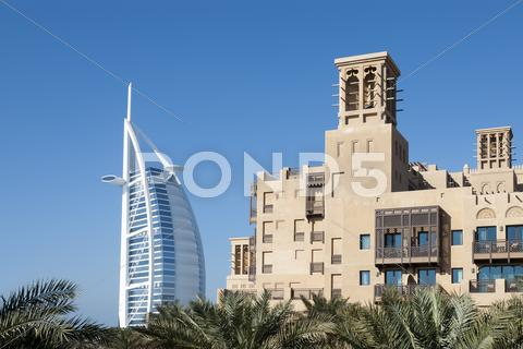 Stock photo of view of burj al arab with mina a'salam hotel (2)