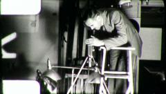 Man on Animation Stand Filmmaker Making Film 1960s Vintage Home Movie 5457 - stock footage