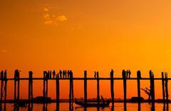 U bein bridge, myanmar Stock Photos