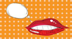 lips pop art - stock illustration