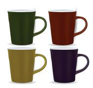 collection of four mugs - stock illustration