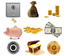 Stock Illustration of safe combination lock with money