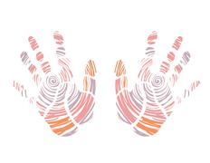 Hand prints colorful Stock Illustration