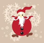 Illustration of stylized santa claus on snowflakes background Stock Illustration