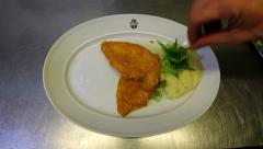 Schnitzel with mashed potatoes Stock Footage