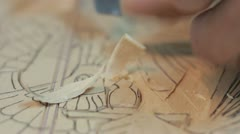 Xylography (woodcutting) _9 Stock Footage