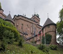 Haut-koenigsbourg castle in cloudy ambiance Stock Photos