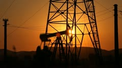 Sunset, Sunrise, Fossil Fuel Energy, Oil Pump, Pumpjack, Old Pumping, time lapse - stock footage