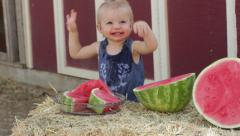 Toddler watermelon laugh Stock Footage