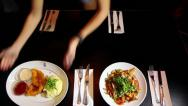 Table filled with delicious dishes Stock Footage