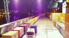 Container load on truck - timelapse - stock footage