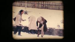 Vintage 8mm. Friends playing with snow Stock Footage