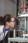 Cute chemistchecks instruments in laboratory. Stock Photos