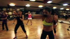 Aerobics class- Kick Boxing - stock footage