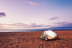 Camping on the beach Stock Photos