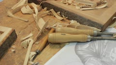 Xylography (woodcutting) tools Stock Footage