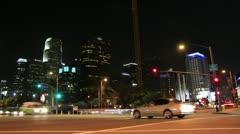 Los Angeles - Night Downtown Intersection - stock footage
