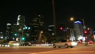 Stock Video Footage of Los Angeles - Night Downtown Intersection