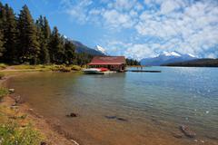 maligne lake boat house, jasper alberta - stock photo