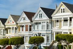 alamo square san francisco california - stock photo