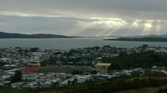 Beautiful time lapse over small town of Ancud on Chiloe island, Chile - stock footage