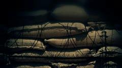 Sandbags and Barbwire Stock Footage
