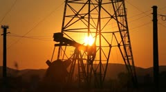 HD Sunset, Sunrise Fossil Fuel Energy, Oil Pump, Pumpjack, Old Pumping Unit - stock footage