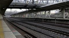 Shinkansen Arrives At Maibara Station Stock Footage